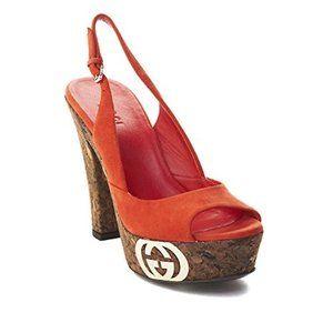 Gucci Suede Cork High Heel Shoe